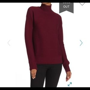 Maroon Theory mock neck ripped sweater